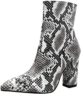 ❤️ Women Leather Ankle Boots with High Heels,Snakeskin Leopard Printed Slip on Wide Calf Cowgirl Boots Booties Shoes