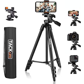 """Lightweight Tripod 55-Inch, Aluminum Travel/Camera/Phone Tripod with Carry Bag, Maximum Load Capacity 6.6 LB, 1/4"""" Mounting Screw for Phone, Camera, Traveling, Laser Measure, Laser Level"""
