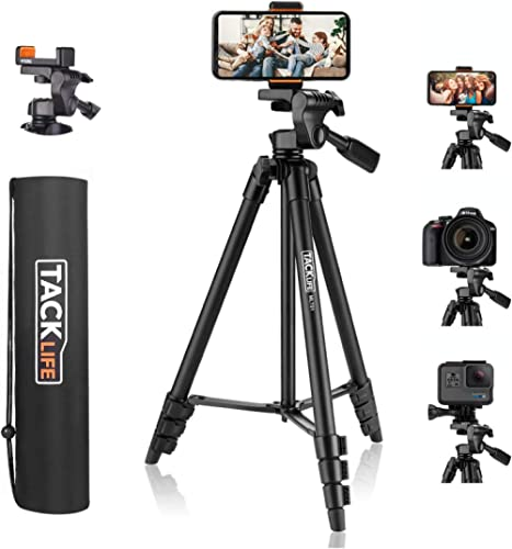 "Lightweight Tripod 55-Inch, Aluminum Travel/Camera/Phone Tripod with Carry Bag, Maximum Load Capacity 6.6 LB, 1/4"" Mo..."