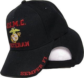 ac8d689f7b0b4 mws U.S.M.C. Veteran Semper Fi USMC EGA Marines Black Baseball Ball Cap Hat  W2-02