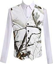 HBDesign Mens 1 Piece 5 Button Real Tree Camo White Slim Fit V-Neck Vests
