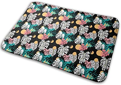 Lovely Summer Pattern with Exotic and Tropical Leaves Carpet Non-Slip Welcome Front Doormat Entryway Carpet Washable Outdoor Indoor Mat Room Rug 15.7 X 23.6 inch