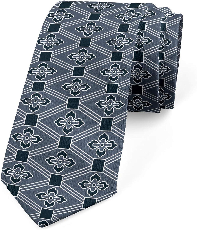 Ambesonne Necktie, Floral Diamond Line, Dress Tie, 3.7