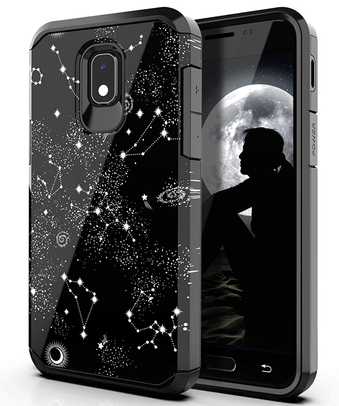 PBRO Galaxy J3 Orbit Case,Cute Universe Constellation Dual Layer Soft Silicone & Hard Back Cover Case for Samsung Galaxy J3 2018/J3 Achieve/Amp Prime 3/J3V/Express Prime 3/J3 Star/Sol 3/J3 Aura-Black