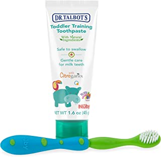 Dr. Talbot's Toddler Training Toothpaste Naturally Inspired with Citroganix, with Toothbrush Included, Blue/Green, 1.6 Ounce