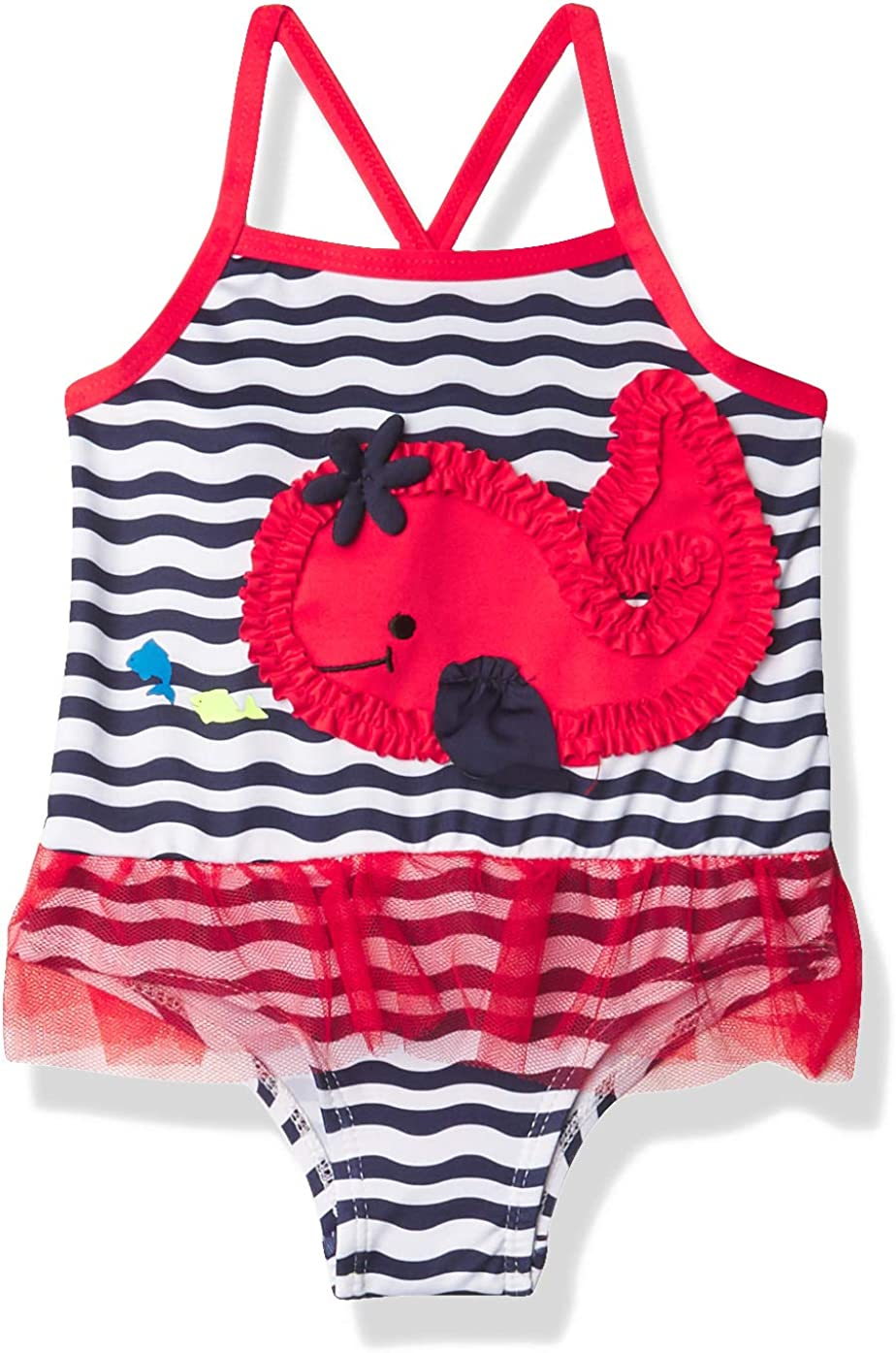 Wippette Girls Baby Whale Print One Piece Swimsuit with Mesh
