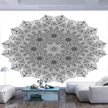 96x69 inches Wall Mural,Monochrome Pattern Ancient Mystical Heritage Henna Cosmos Icon Artwork Peel and Stick Self-Adhesive Wallpaper Removable Large Wall Sticker Wall Decor for Home Office