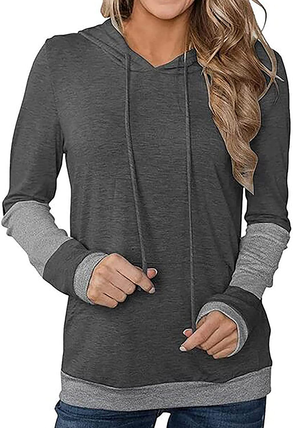 Women Crewneck Hooded Fitted Free shipping anywhere Washington Mall in the nation Sweatshirts Color Oversized Block