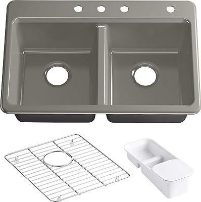 Kohler K-8679-4A2-K4 Riverby Kitchen Sink, Cashmere