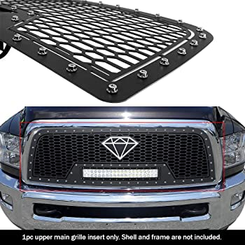 APS Compatible with 2009-2012 Dodge Ram 1500 Stainless Steel Black Laser Cut Mesh with Stud Rivets /& LED Grille Insert DL5169L