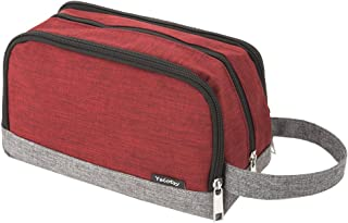 Wash Bag Mesh, Yeiotsy Color Clash Durable Small Travel Toiletry Bag for Teens Hiking/Camping (Red)