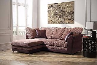 Bayley divano ad angolo in pelle e tessuto formale della, Brown and Coffee, Left Hand Corner