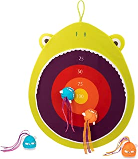 B. toys – Hungry Toss Frog Toys - Kids Dart Board – 1 Fabric Board & & 4 Soft Darts for Kids 3+ (5-Pcs)