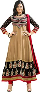 Florence Women's Georgette Straight Salwar Suit Set (SB-1317-Aug2019_Chikoo_One Size)