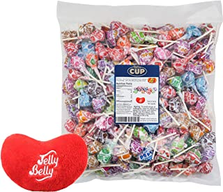Dum Dums Lollipops Gluten Free Bulk Candy Individually Wrapped Assorted Flavors: Cotton Candy, Cream Soda and More - 3 Pound Bag By The Cup Gift Pack with 1 Jelly Belly Emoji Mini Plush Toy