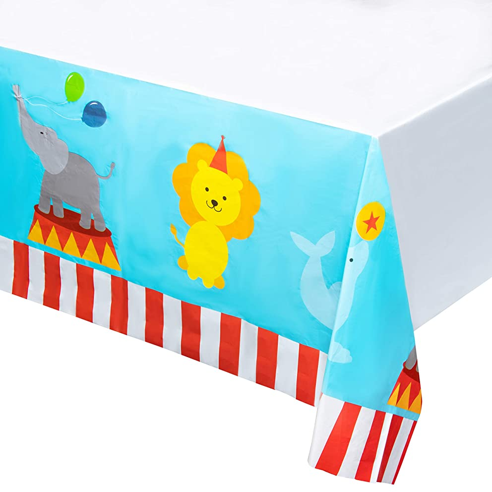 Circus Plastic Tablecloth - 3-Pack 54 x 108 Inch Disposable Table Cover, Fits Up to 8-Foot Long Tables, Circus Themed Party Decoration Supplies, 4.5 x 9 Feet
