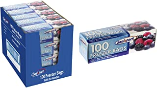 Sealapack LARGE TIE HANDLE FREEZER BAGS, KITCHEN ESSENTIAL, PACK of 100, 26 x 40cm, Clear