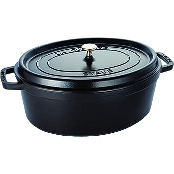 Staub 40509-370-0 Cocotte Ovale en Fonte Mat 37 cm 8L pour 7 À 8 Prs, Noir