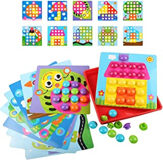 Button Art Toys for Toddlers, Color Matching Mosaic Pegboard Early Learning Preschool Educational Toys Gift for 2 3 4 5 Ye...