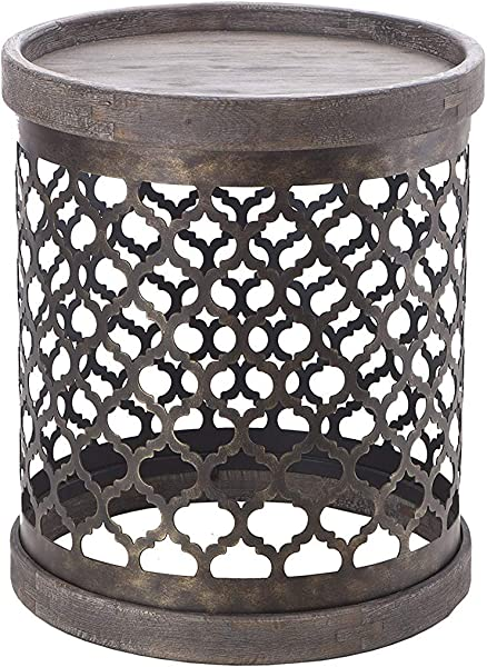 Madison Park FPF17 0129 Cirque Accent Metal Side Table Drum Design Modern Mid Century Rustic Style Living Room Furniture Medium Grey