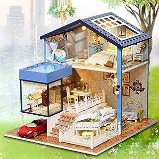 Casa delle bambole fai-da-te, kit di mobili in miniatura per case delle bambole in legno con LED Mini casa delle bambole f...