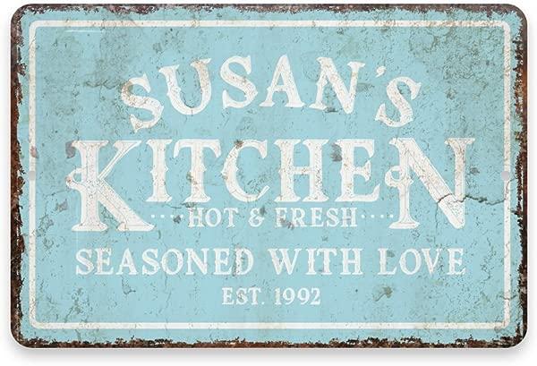 个性复古做旧外观薄荷厨房经验丰富的爱金属房间标志