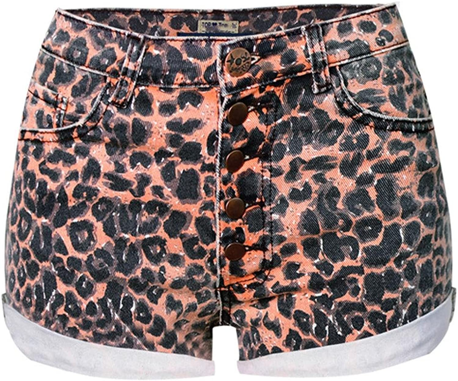 Byjia High Waist Slim Stretch Ladies Buckle Shorts Leopard Denim Jeans Party Mini Pants