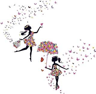 Kibi Romantique Dansant Fille Fleur Fée Papillon Amovible Stickers Muraux Autocollants, Enfants Bébé Chambre Pépinière DIY...