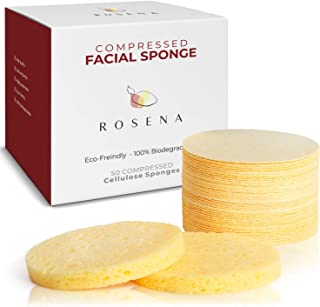 Facial Sponges - 50 Count Compressed Cellulose Face Cleansing and Exfoliating Sponges, Reusable Makeup Mask Remover, Round...