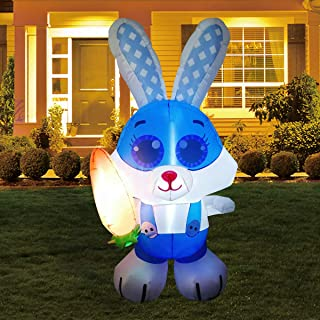 GOOSH 5 ft Tall Easter Inflatable Decorations Bunny with Carrot Yard Decoration with Build in LEDs for Easter Holiday Part...