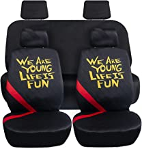 FH Group LF001114 Fast Line Exclusive Seat Covers in Stripe - We are Young Life is Fun Car Seat Covers- Fit Most Car, Truc...