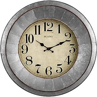 Bulova C4839 Industrial Wall Clock, Galvanized Silver/Tone Finish