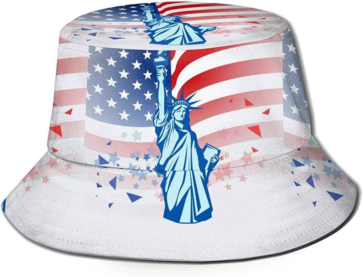 Now free shipping Special Campaign American Flag Statue of Liberty Cap Fisherman's Hat Cylindrical