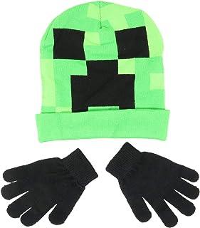 Minecraft Creeper Face Flip Down Cuff Kids Beanie Hat Cap and Gloves Set New Green
