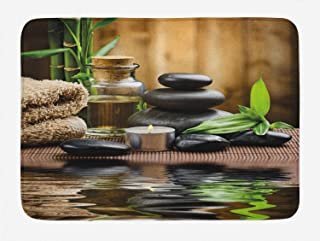 Ambesonne Spa Bath Mat, Asian Zen Massage Stone Triplets with Herbal Oil and Scent Candles Print, Plush Bathroom Decor Mat with Non Slip Backing, 29.5 W X 17.5 L Inches, Black Brown
