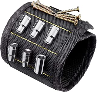 TIMESETL Pulsera Magnética Ajustables para Sujetar Herramientas Pulsera magnética con 10 Imanes para guardar Clavos/Tornillos/Agujeros/Pequeñas Herramientas