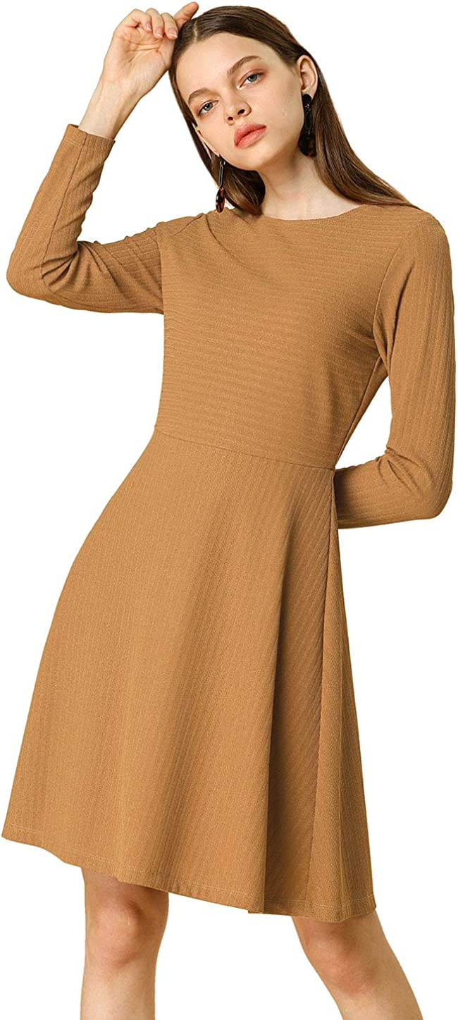 Allegra K Women's Work Office Long Sleeves Round Neck Flare A-line Dress