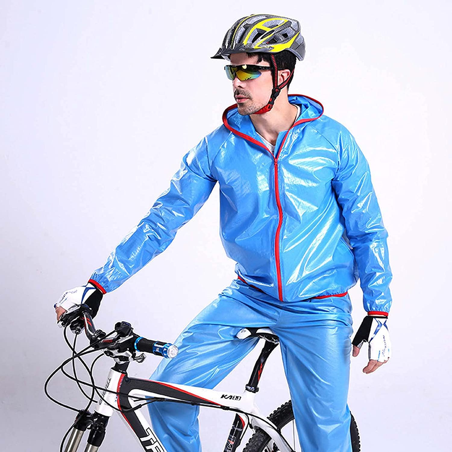FHGH Men's Split Raincoat for Cycling, Portable Raincoat and Trousers Set, for Riding, Hiking and Traveling,B,Small