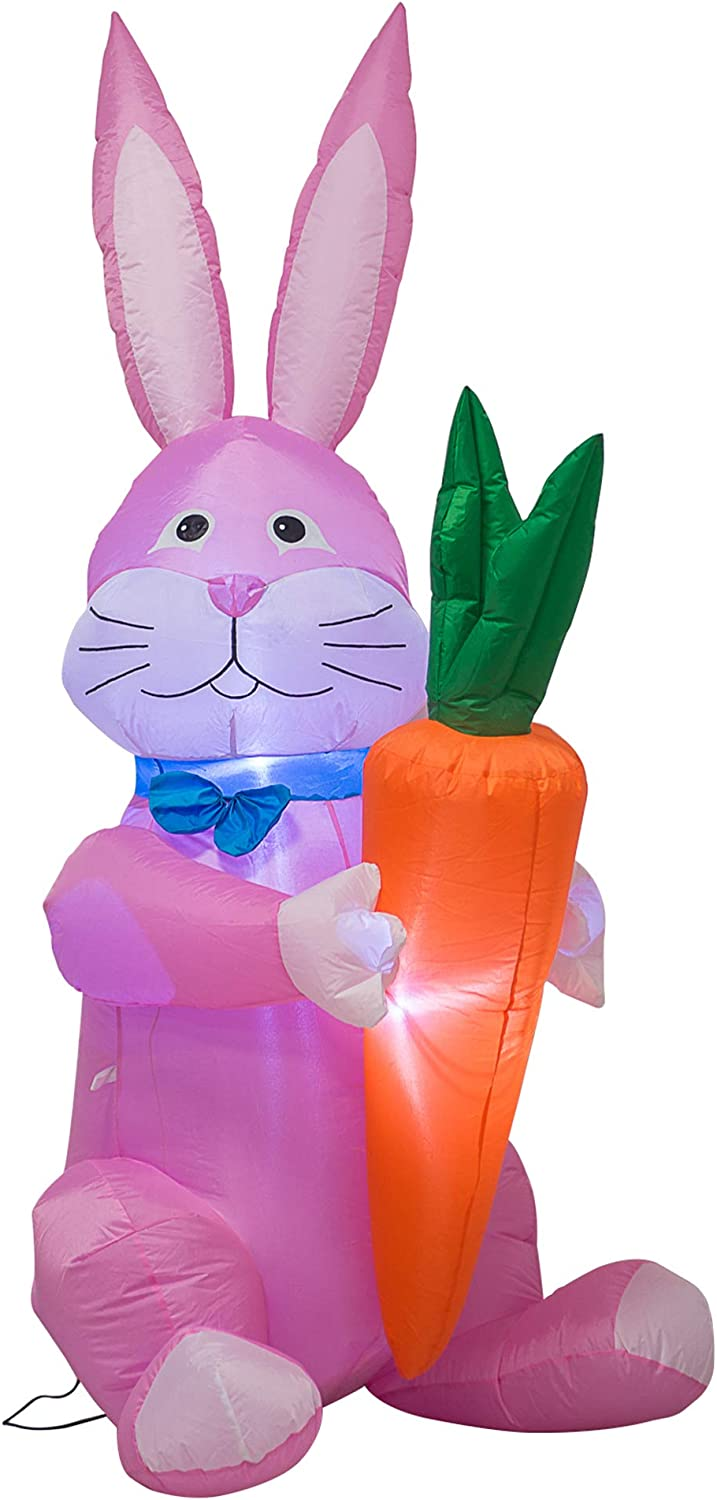 AJY 6 Daily bargain sale Feet Happy Easter New product!! Bunny Inflatable U Holding Carrot a Blow
