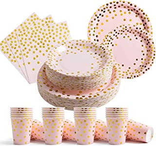 200Pcs Disposable Paper Plates Cups Napkins Set for Baby Shower Birthday Parties,25x7 inches plates,25x9 inches plates,25x...