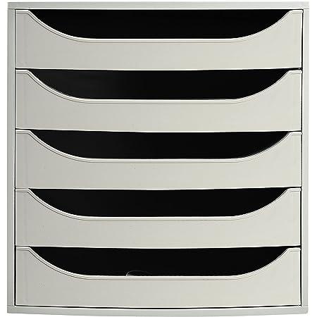 Exacompta - Réf. 229606D – Module à tiroirs ECOBOX + - Caisson individuel à 5 tiroirs pour document A4 maxi - Certifié Ange Bleu - Dimensions 34,8 x 28,4 x 29,0 cm – Couleur Gris