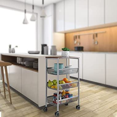 MOOACE Rustic Kitchen Cart on Wheels, 3-Tier Wire Storage Rolling Cart, Wood Look Top and Metal Frame, Silver
