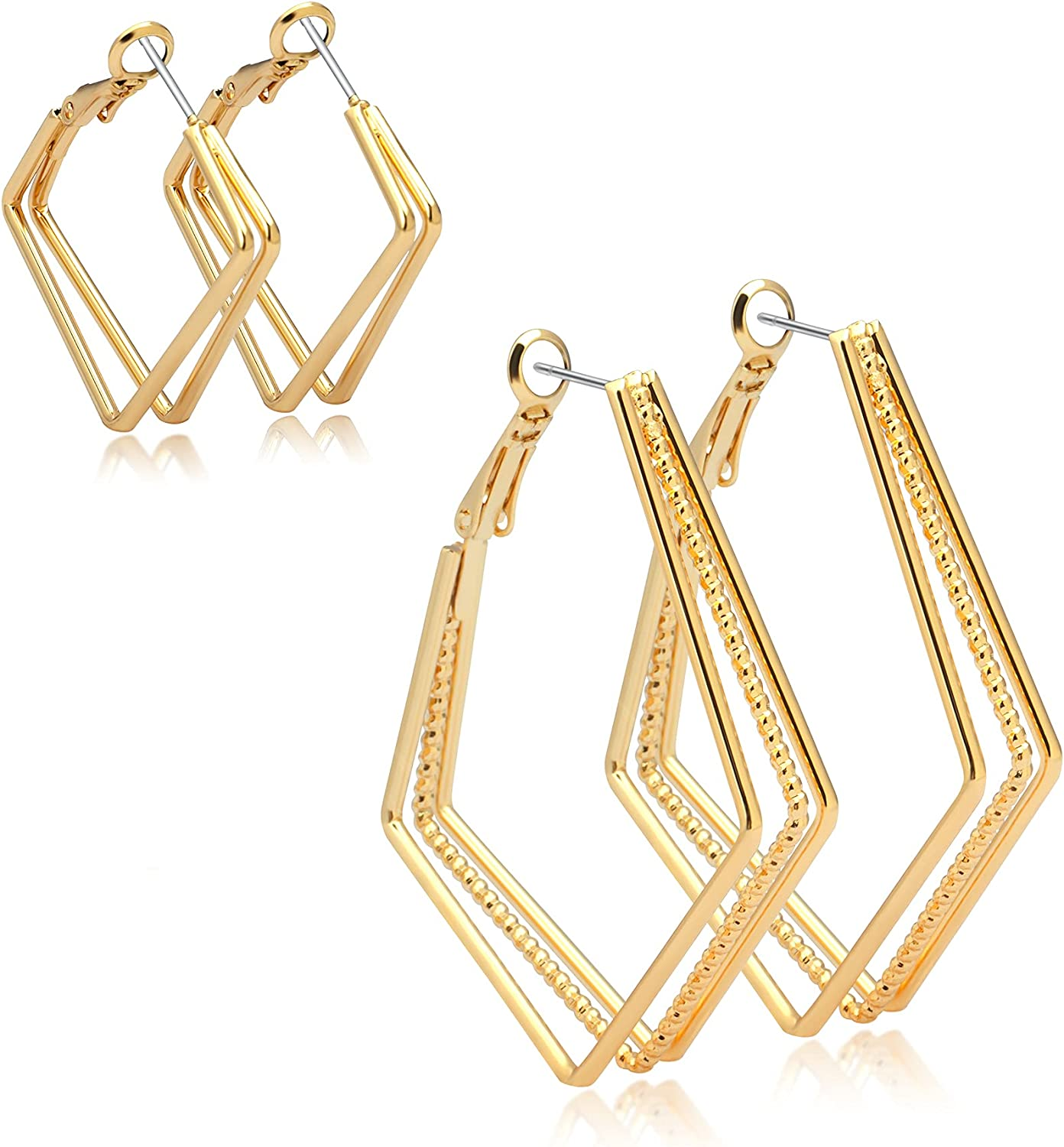 2 Attention brand Pairs Our shop OFFers the best service Geometric Hoop Earrings Square Ea Nymphvesta Double