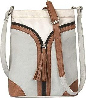Mona B Pistachio Cross City Upcycled Canvas Crossbody Bag with Vegan Leather Trim MD-5917