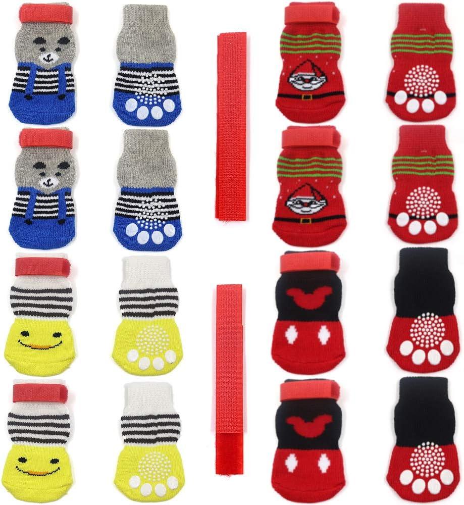 4 pares de calcetines antideslizantes para perros y gatos con refuerzo de goma y 8 correas pequeñas, protector de pata de mascota para suelos de madera dura, estilo de uso interior 2 (L)