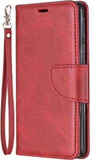 Lomogo Nokia 1Plus Case Leather Wallet Case with Kickstand Card Holder Shockproof Flip Case Cover for Nokia 1 Plus - LOBFE150488 Red