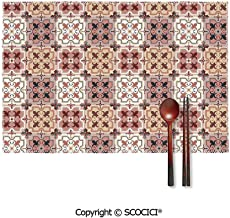 SCOCICI Colour Print Placemats,Vintage Style Patterns Tangled Clover Shapes Eastern Tessellation Illustration Placemats Dining Table,Heat-Resistant Placemats, Kitchen Table Mats,Sets 4