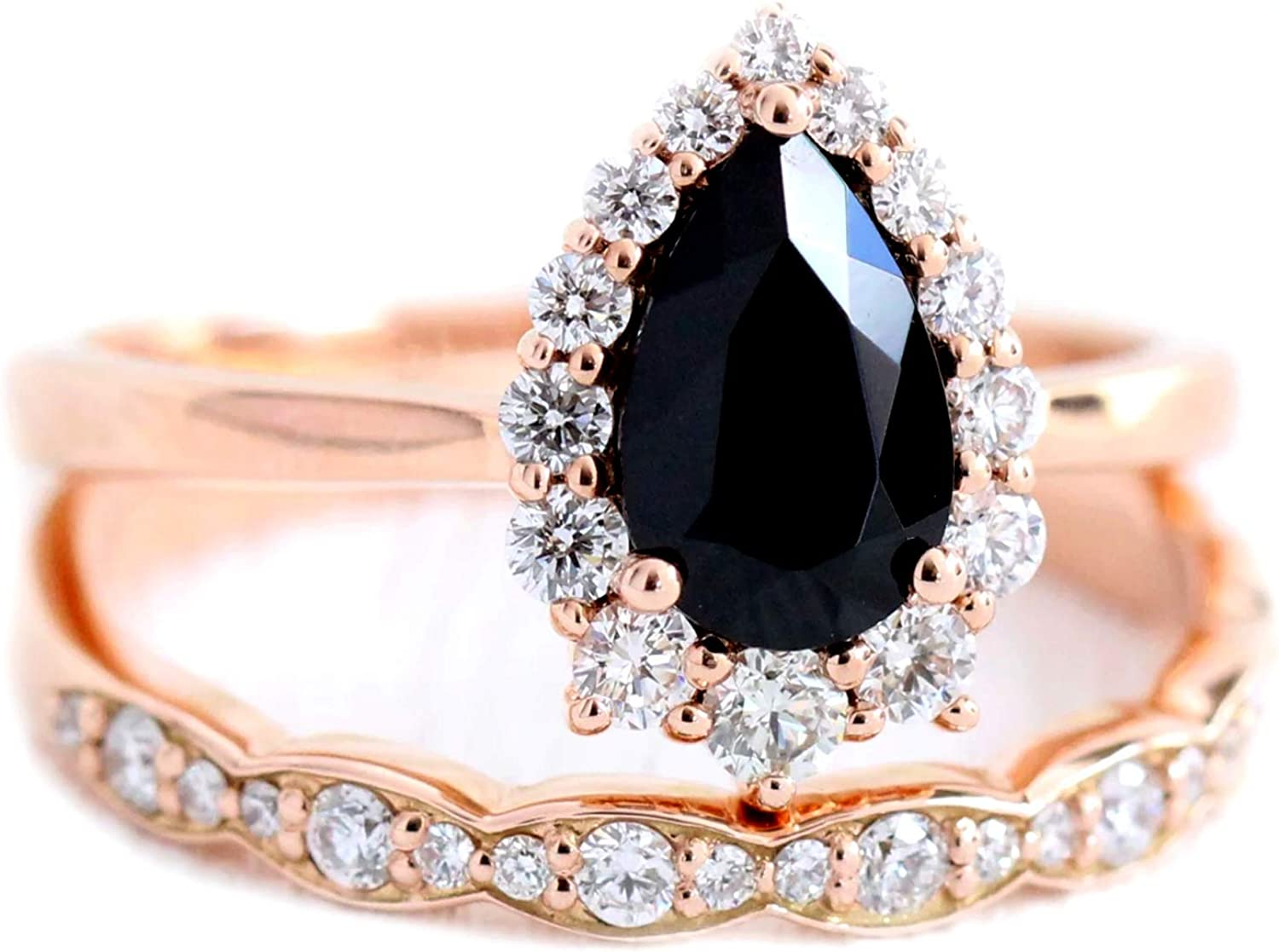 Tiara Ring Regular store 925 Classic Sterling Silver Stackable Rose Spinel Black
