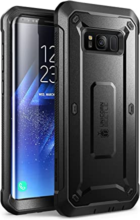 SUPCASE Full-Body Rugged Holster Case for Samsung Galaxy S8, with Built-in Screen Protector for Galaxy S8 (2017 Release), Not Fit Galaxy S8 Plus, Unicorn Beetle Shield Series - Retail Package (Black)