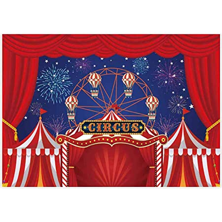OERJU 15x10ft Circus Party Backdrop White and Red Stripes Tiger and Animal Trainer Circus Carnival Photography Background Circus Theme Birthday Party Cake Table Banners Baby Shower Party Decor